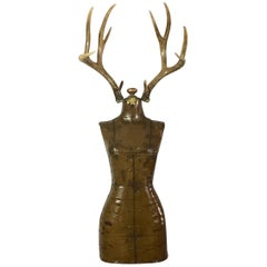 """Dave Cole """"Trophy Wife #9"""" Antique Dress Form and Antlers, 2017"""