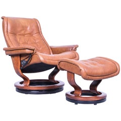Ekornes Stressless Royal Armchair and Footstool Set Brown Leather Recliner Chair