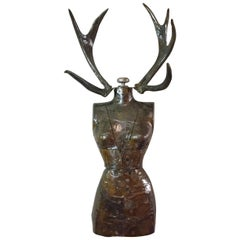 "Dave Cole ""Trophy Wife #11"" Antique Dress Form and Antlers 2017"
