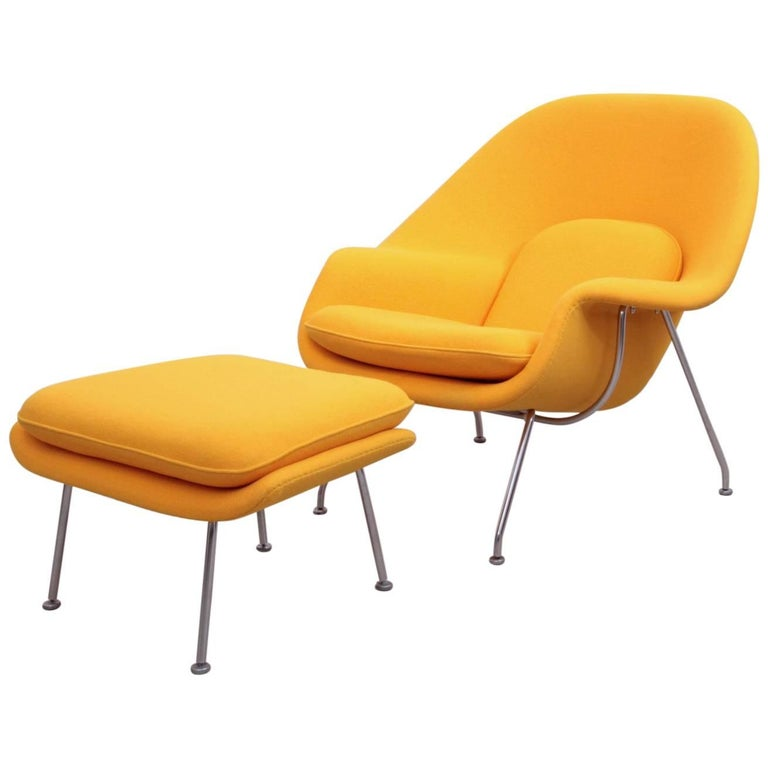 Eero Saarinen Womb Chair with Ottoman by Knoll in New Kvadrat Fabric