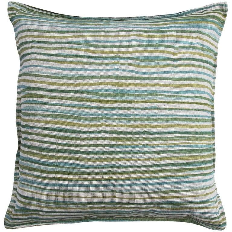 Vert Stripe on Wheat Cotton Linen Pillow For Sale