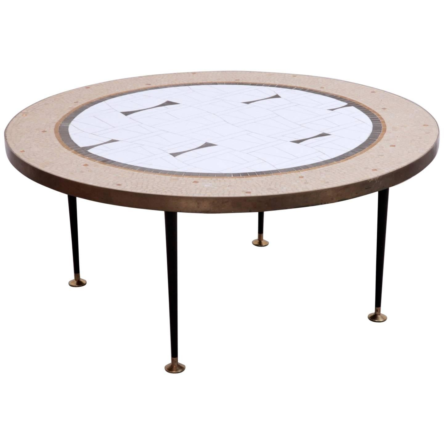Large Round Berthold Muller Mosaic Coffee Table, Germany, 1960s