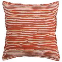 Cayenne Stripe on Wheat Cotton Linen Pillow