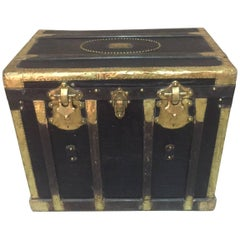 19th Century Wooden and Brass Travel Trunk