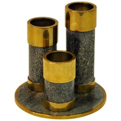 Saulo Candleholder Set of Three Made of Stone/ Brass, 1970s, Sulitjelma, Norway