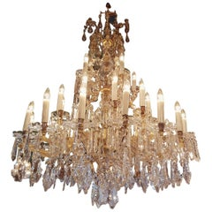 Large French Maria Theresia Chandelier with 30 Lights, Cage Model 20th Century