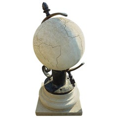 White French Limestone Terrestrial Globe with Metal Stand, Provence
