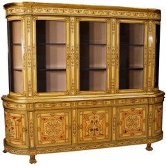 French Bookcase in Inlaid Wood with Gilt Bronzes from 20th Century