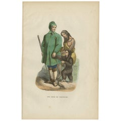 Antique Print of a Chuckchi Family by H. Berghaus, 1855