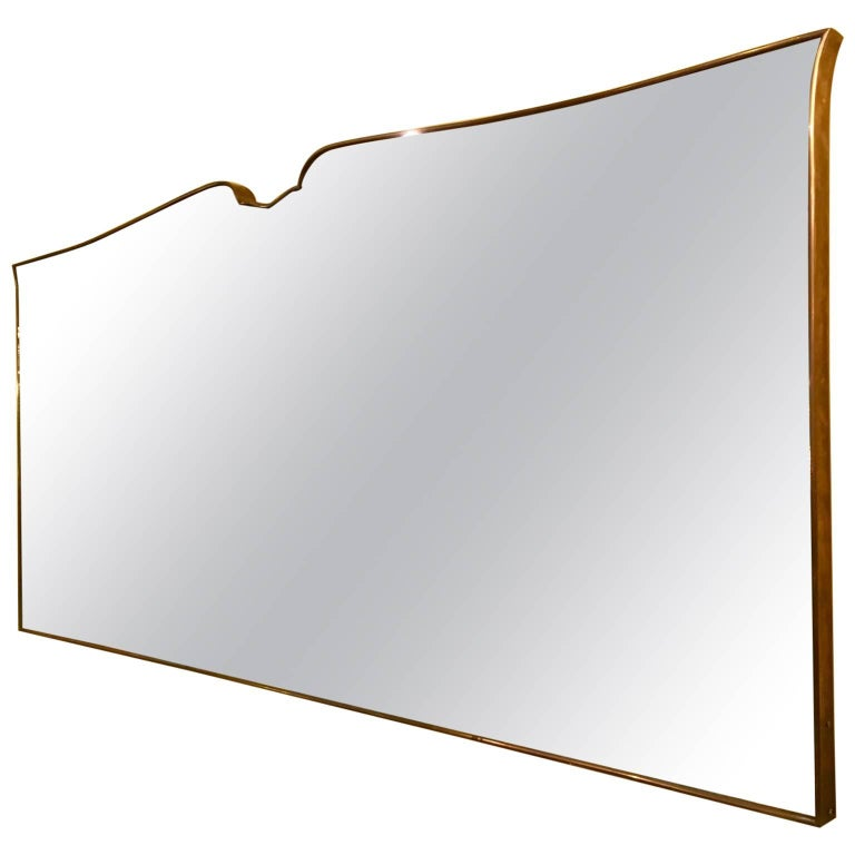Large Brass Mirror, 1950s, Italian