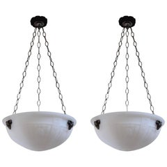Pair of English Opalescent Hanging Lights in the Adams Taste