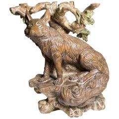 Fox and Oak Wood Sculpture