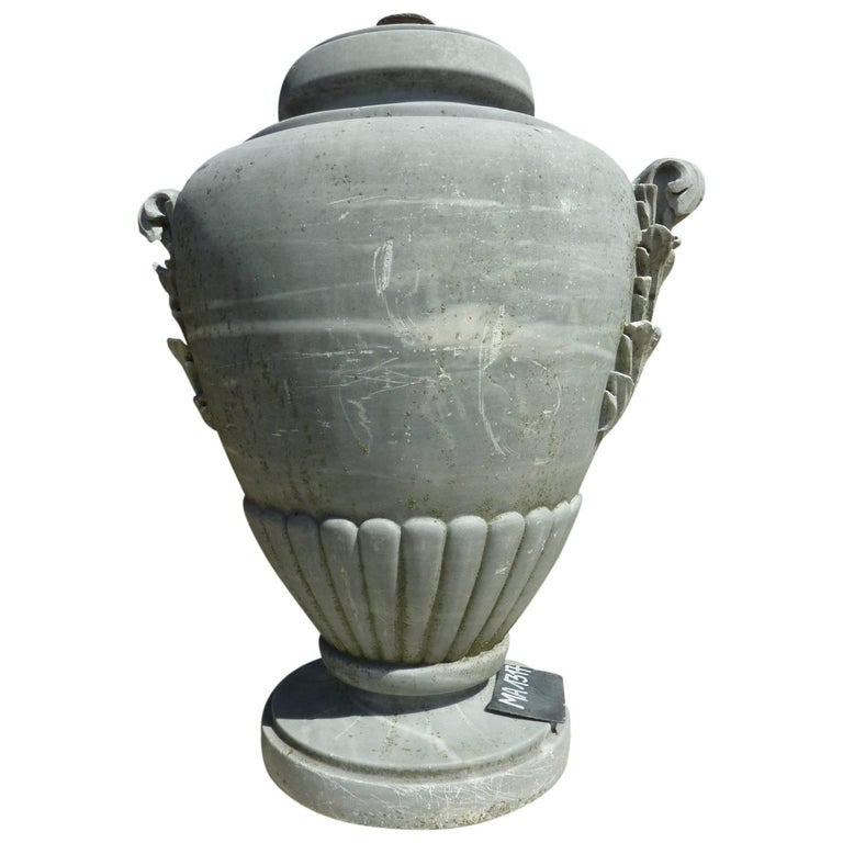 19th Century Grey Marble Jar with Hand Sculpted Gadroons and Leaf-Shaped Handles
