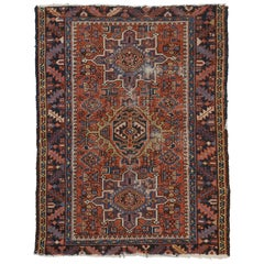Antique Persian Heriz Rug with Tribal Style, Study or Home Office Worn Rug
