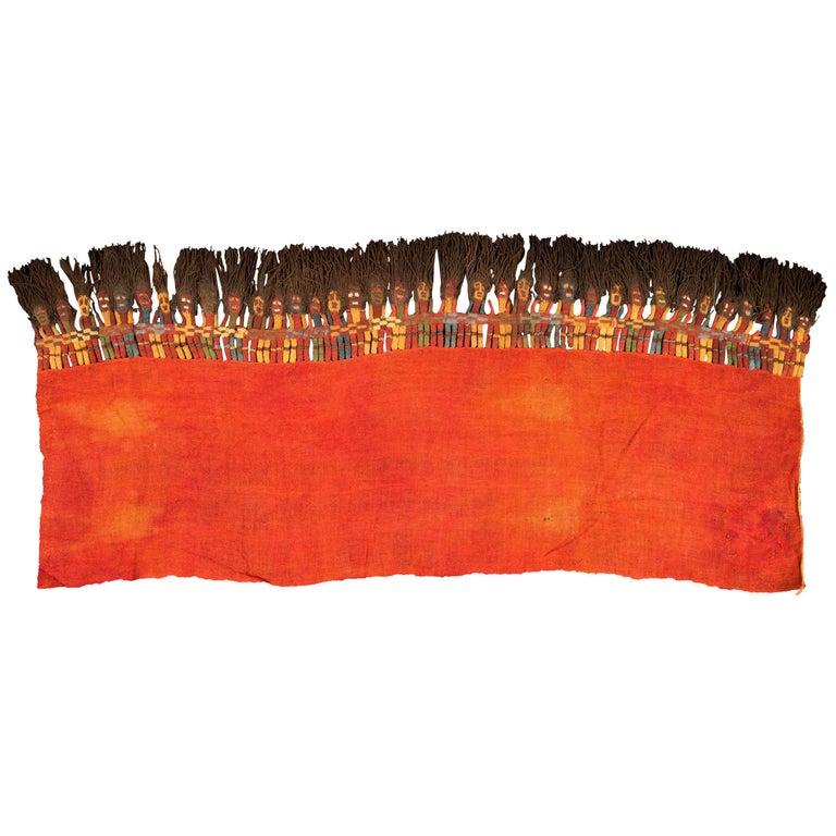 Pre-Columbian Red Gauze with Muñecas Figures, Proto-Nazca Peru, 100 BC-300 AD