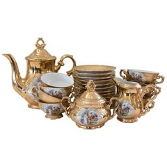 Royal 22-Karat Gold Set of Stamped Bavaria Tea Set Beautiful Hand-Painted Design