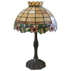 Vintage 1940s Art Deco Tiffany Style Fabulous Colors Lamp Lights Soft Glow