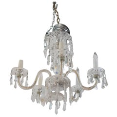 ON SALE NOW!! 1920s Waterford Style Fantastic! Cut Crystal Five-Arm Chandelier