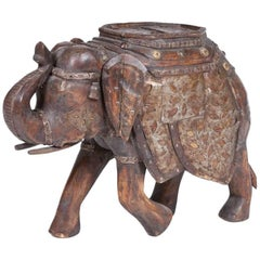 Indian Teak and Brass Elephant