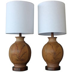 Pair of 1960s Stoneware Lamps by Brent Bennett