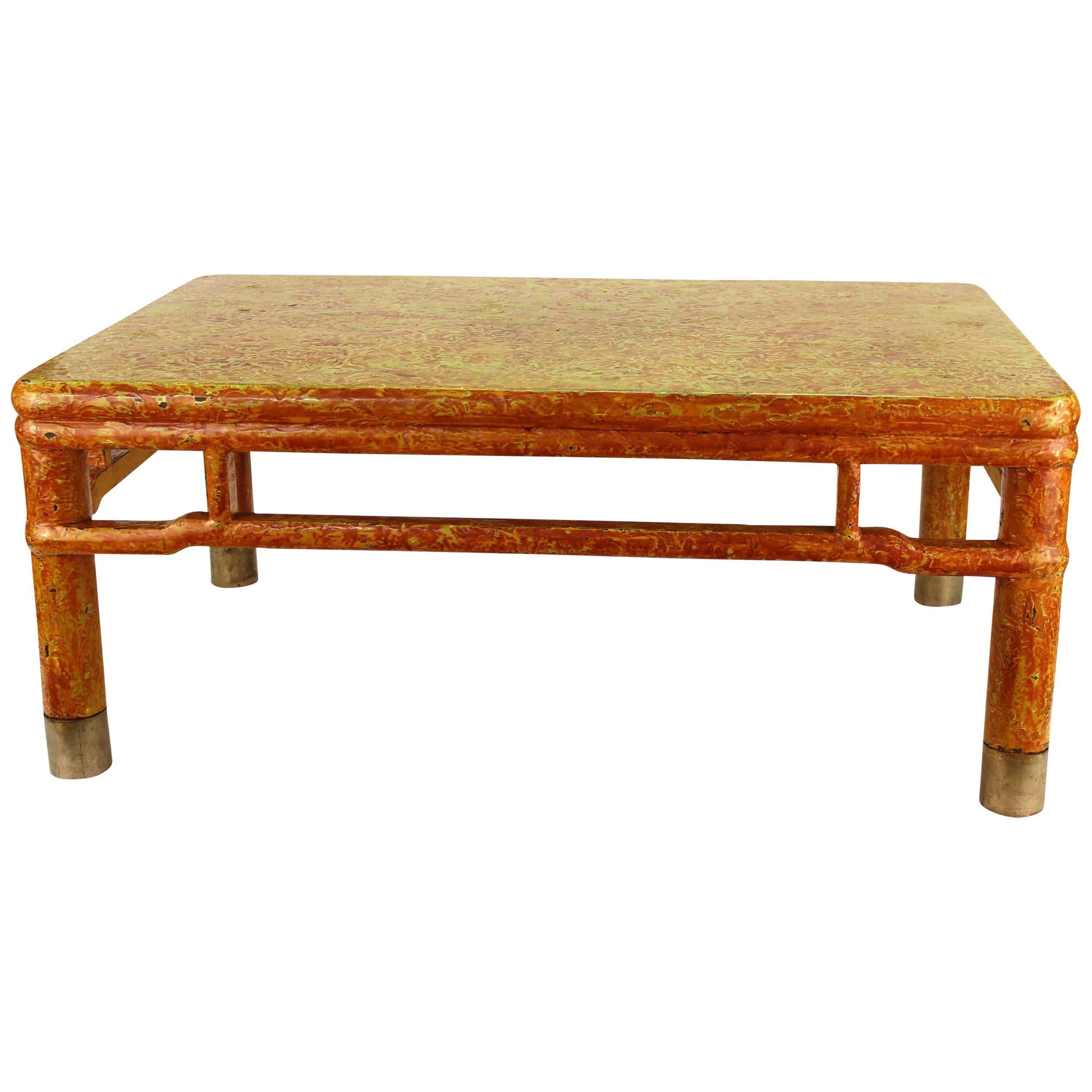 Asian Style Cocktail Table with Craquelure Finish