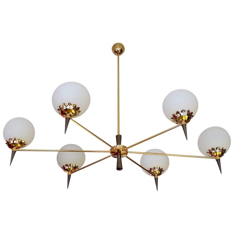 Large French Maison Arlus Six Light Br Gl Globe Pendant Chandelier 1960s