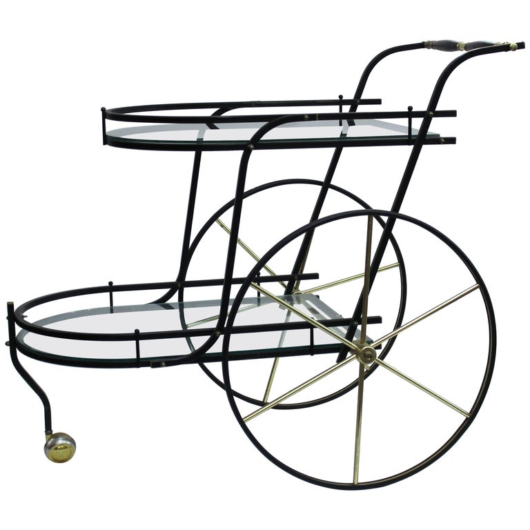 Italian Midcentury Black Metal Two-Tier Bar Cart