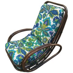 Italian Midcentury Bamboo Armchair with Floral Original Fabric from 1970s