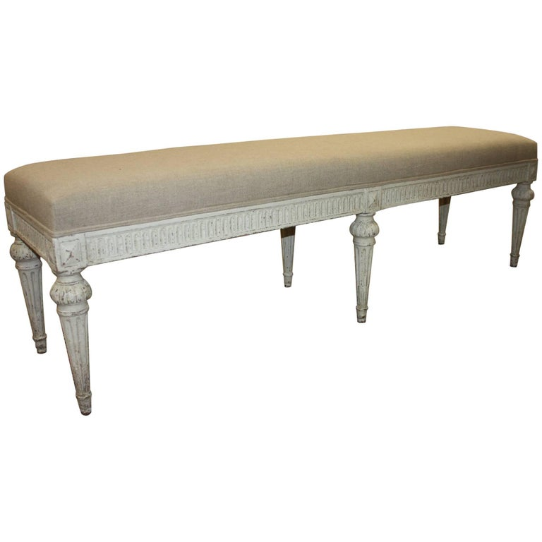 19th Century French Louis XVI Painted Bench