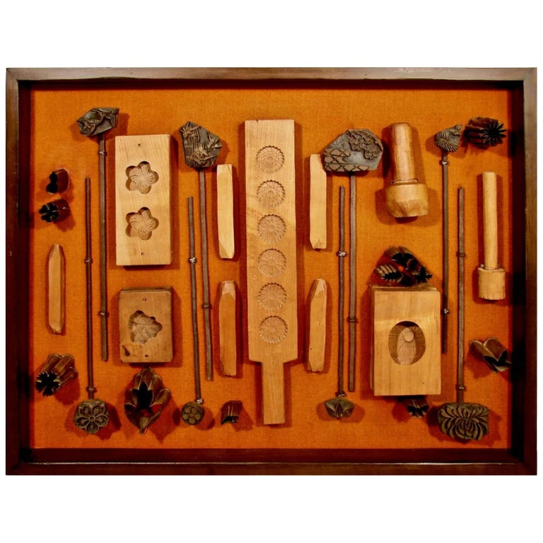 Assembled Group of Vintage Japanese Cookie and Tea Cake Molds in Shadow Box For Sale