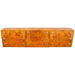 Custom Burl Wood Triple Sideboard or Dresser