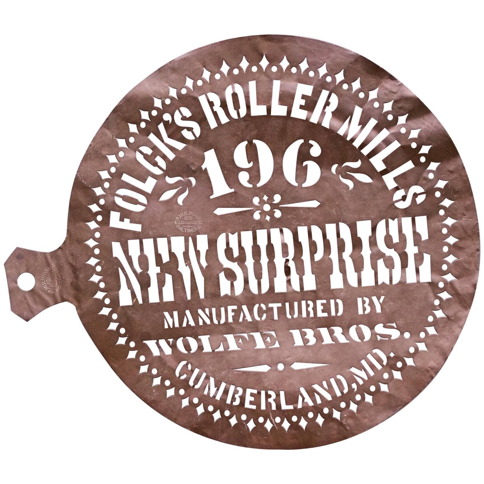 1900s Advertising Stencil Mark Type Font Vintage Industrial Art Sculpture Copper