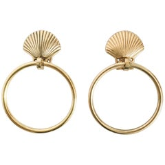 Nautical Brass Seashell Guest Towel Rings, Pair