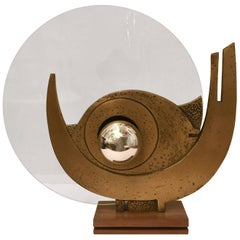 Giuseppe Calonaci Bronze Sculpture, 1960 Table Lamp