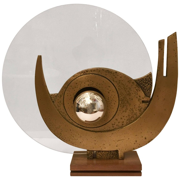 Giuseppe Calonaci Bronze Sculpture, 1960 Table Lamp For Sale