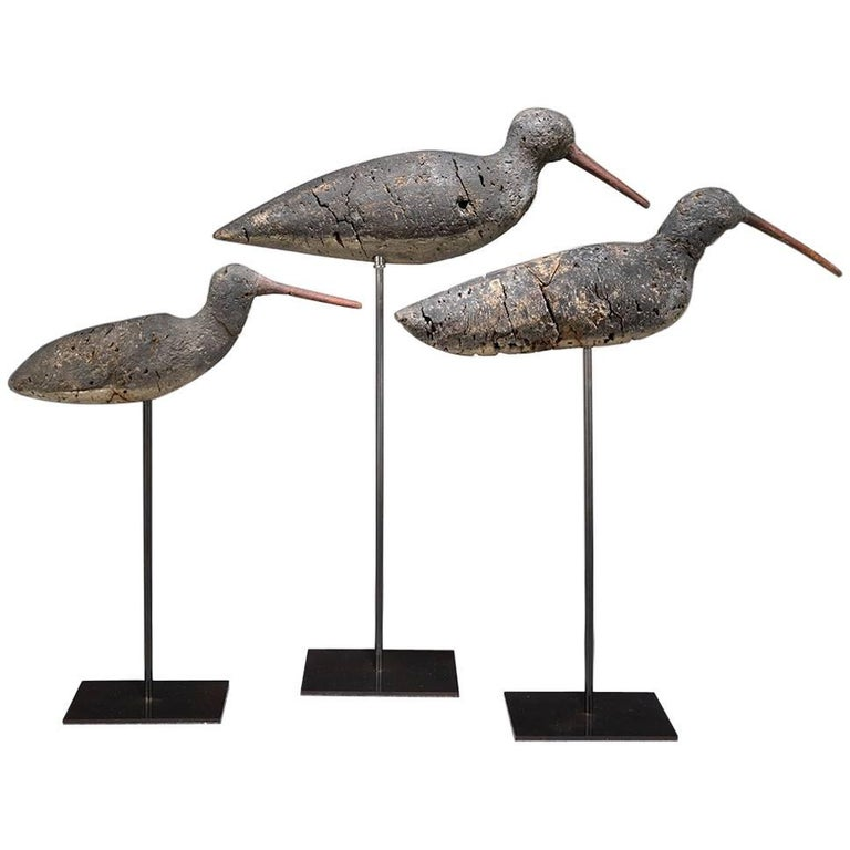 Flight of Three Primitive Shorebird Decoys