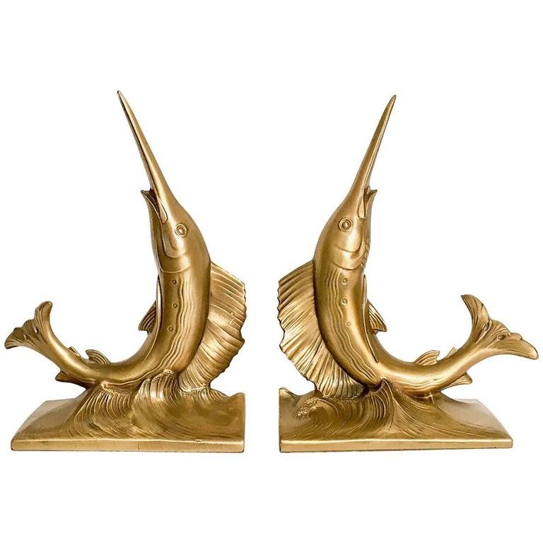 Gold Blue Marlin Nautical Bookends, a Pair