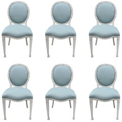 French Regency Neoclassical Style Dining Chairs, Set of Six