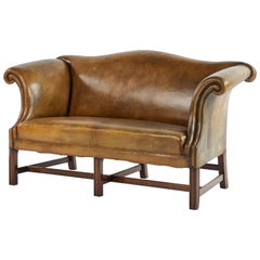 Early 20th Century Leather Settee Sofa on Mahogany Base