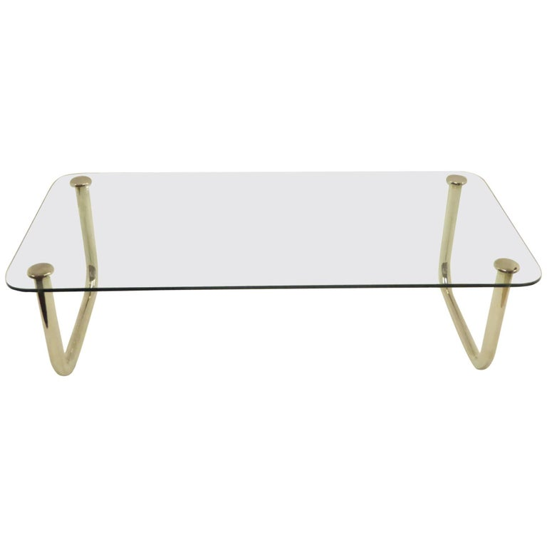 1960s Long Mascheroni Style Glass and Nickel Chrome Sled Leg Coffee Table For Sale