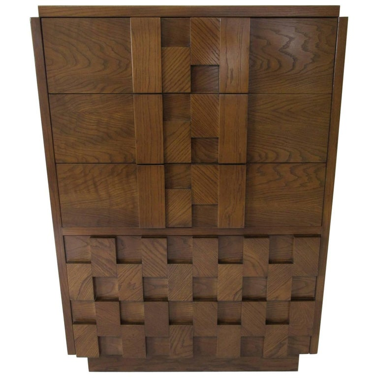 Lane Brutalist Tall Dresser or Chest