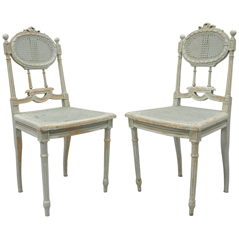 Pair of French Louis XVI Style Blue Distress Painted Parlor or Salon Side Chairs