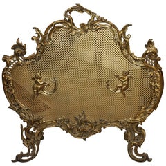 French Gilt Bronze Scroll Fire Place Screen or Fire Screen