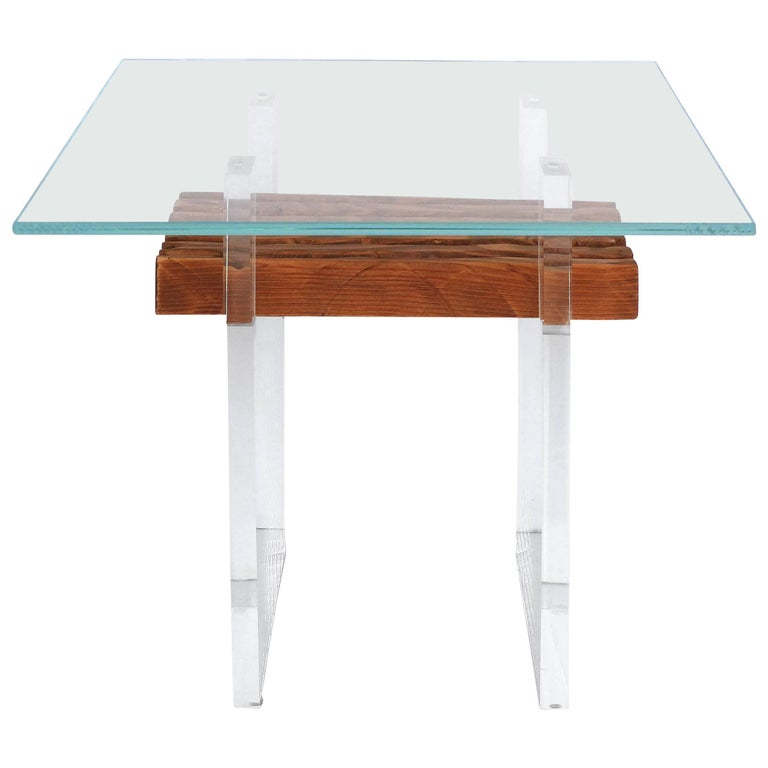 Lucite, Wood and Glass Side Table