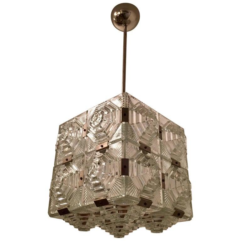 Czech 1960 Crystal Pendant Kamenicky Senov For Sale