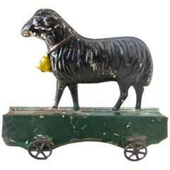 "American Tin ""Lamb on Platform"" Floor Toy by Fallows, circa 1880s"
