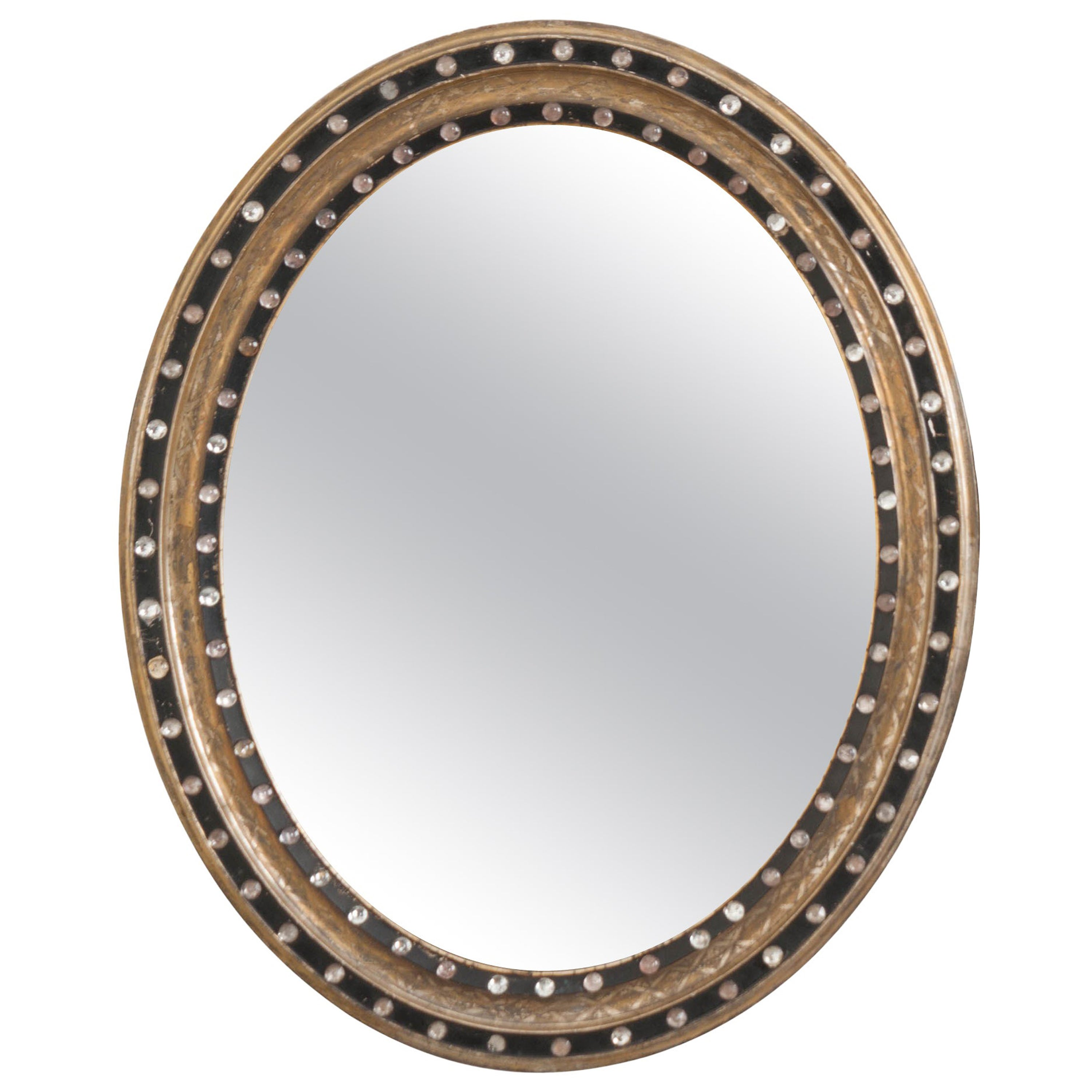 French 19th Century Ebonized and Painted Oval Mirror