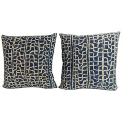 Pair of Ndop African Artisanal Vintage Textile Decorative Square Pillows