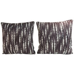 Pair of Modern Grey and White Polished Cotton Decorative Pillows