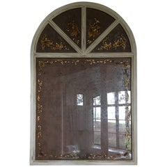 French Style Painted Wood Mirror with Lover Scene Decoration, 20th Century